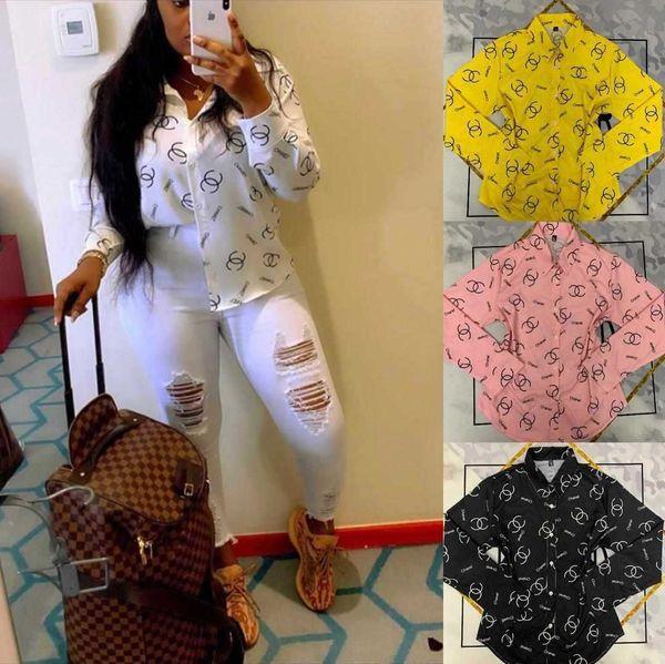 Free Ship 2020 Women Fashion Print Shirt Lady Casual Long Sleeved Turn Down Collar Shirt Tops 4 Colors