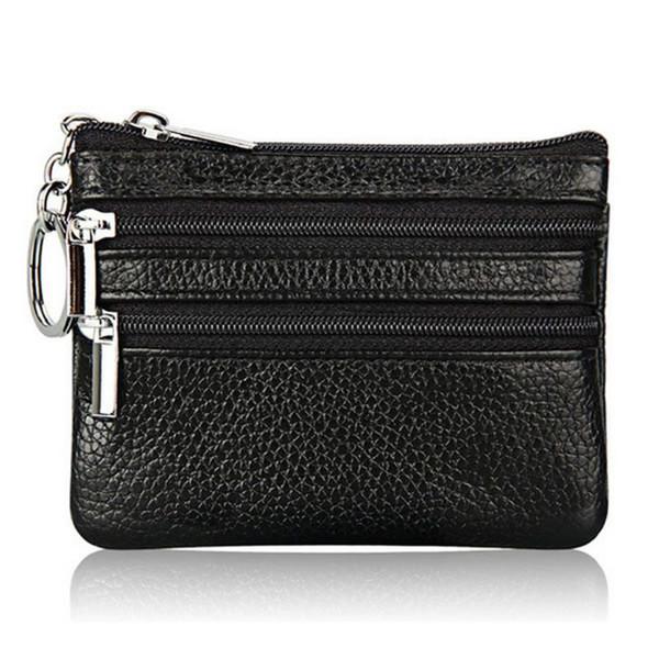 women men leather coin purse card wallet clutch double zipper small change bag purse wallet (560910790) photo