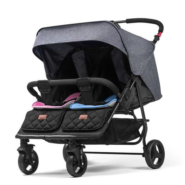 0-2y Twin Baby Stroller High Landscape Foldable Lightweight 13.5kgnw Children Carriage Seat Width 33cm Four Wheel Fold Strollers
