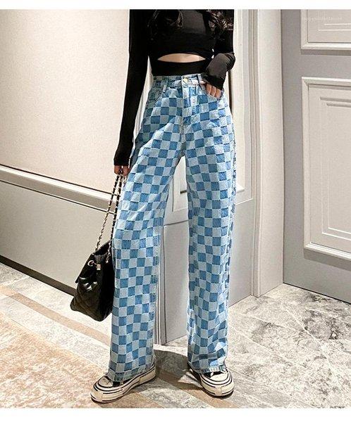 Waist Plus Size Fashion Slim Demin Pants Woman Cargo Pant Streetwear Womens Plaid Wide Leg Jeans Spring Women High