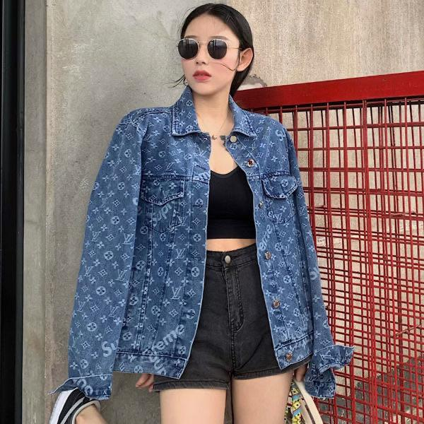 New autumn/winter 2020 Medium and long style Couples Hong Kong-style printed denim jackets for men and women