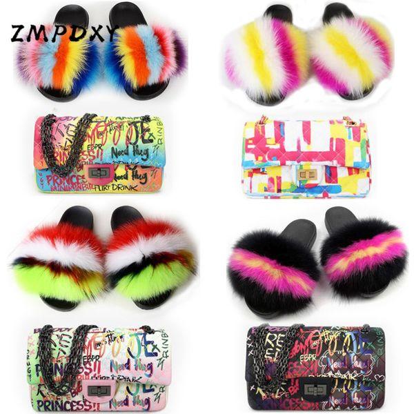 ladies real fur slippers woman handbag graffiti shoulder bag shoes sets fluffy slides colorful crossbody phone purse sandals (560972761) photo