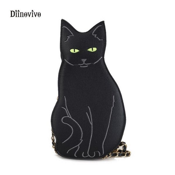 diinovivo fashion funny cat women's handbag unique animal female shoulder bag multipurpose chain crossbody purses bag whdv0276 (554146262) photo