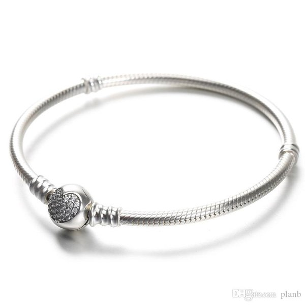100% стерлинговые серебро 925 женщины браслетов Белого CZ Micro Асфальтового Сердце браслет с коробкой для Пандора бусины европейской Charms