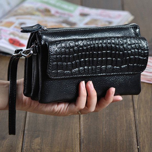 genuine leather clutch women long wallets women money purse large capacity clutch coin purse ladies wallet phone purse cartera (563410057) photo