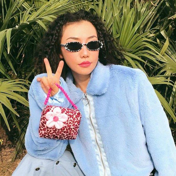 fashion cute cool girl pink leopard flower mini handbag crossbody shoulder messenger bag childlike bag coin purse female tote (567431798) photo