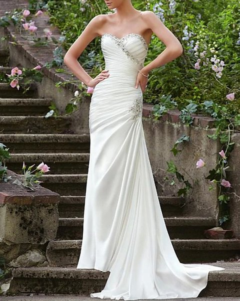 Mermaid Applique Strapless Sleeveless Long Satin Wedding Dresses
