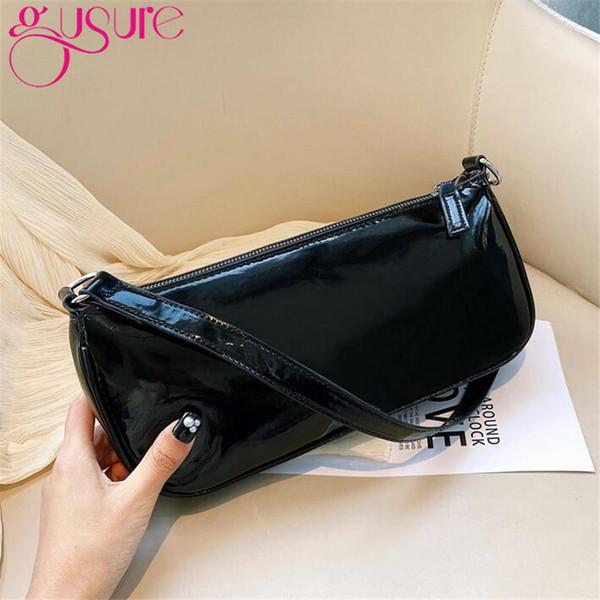 gusure casual baguette bag simple women shoulder bags patent pu leather french underarm handbags ladies purse black (569722718) photo