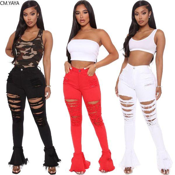 CM.YAYA Vintage Women Hollow Out Denim Pants Retro Solid Ruffles Tassel Hem Wide Leg Hole Jeans Ripped Flare Trousers Jean Pants T200822