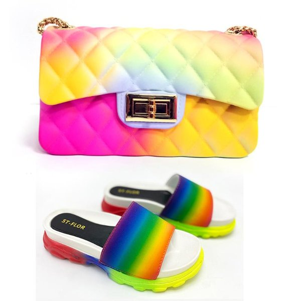 cute summer slippers woman jelly slipers and bag set candy color slides and purse purses fashion set terlik kapcie (569808940) photo