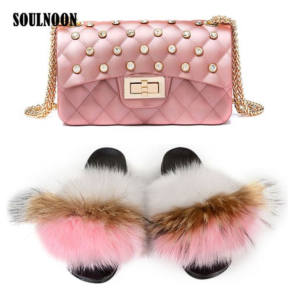 women furry slides real fur slippers jelly purse luxury fluffy home slippers fashion plush fur flip flops woman shoulder bag (567822779) photo