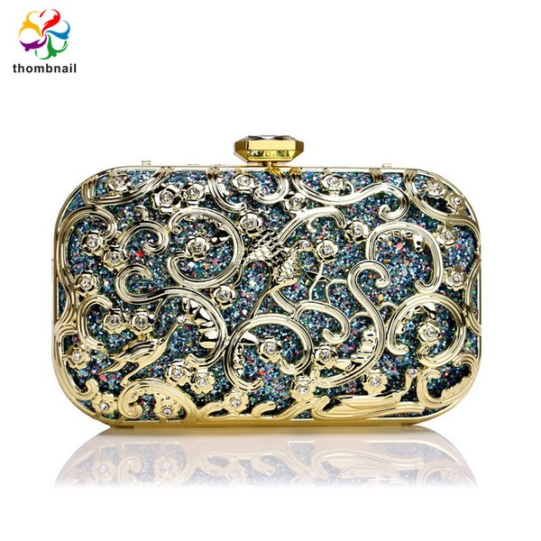 blue clutch women crystal diamond celebrity evening bags luxury party purses handbag (578723490) photo