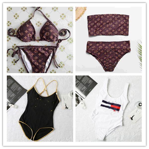 Women summer bathing suit swimwear sexy bikini 2 piece set summer clothing panelled padded bra swim trunks jumpsuit beach swimsuit 3369