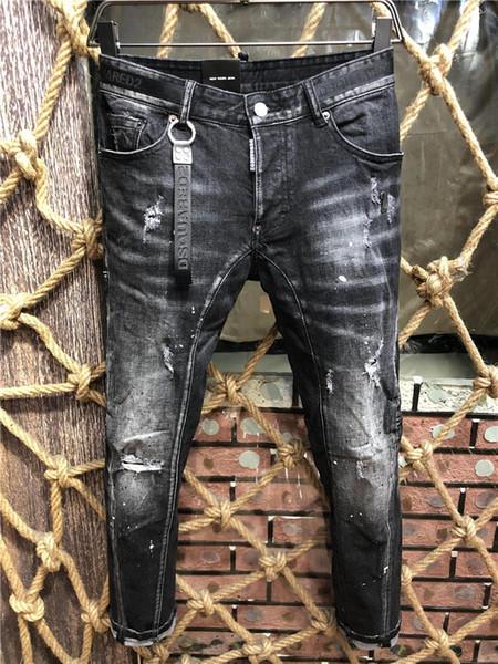 2020 New DesignersDSquaredDSQ2D220fw Men Luxury Denim Jeans Holes Trousers Pants Biker Jeans Rock Revival Jeans A216 2