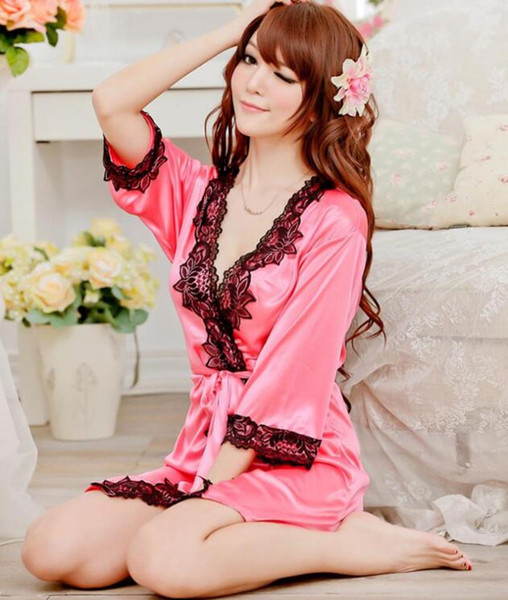 Hot Women Sexy Nightwear Satin Lace Lingerie Sleepwear Robes Intimate Night Gown Robes Kimono Exotic Apparel Babydolls Chemises F036