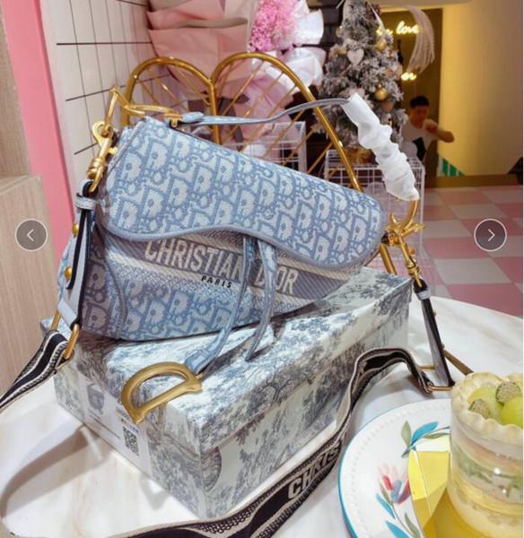Gift box Army Green Embroidered Denim Canvas saddle bag luxury womens designer bags 2 ways size 21 18cm tradingbear