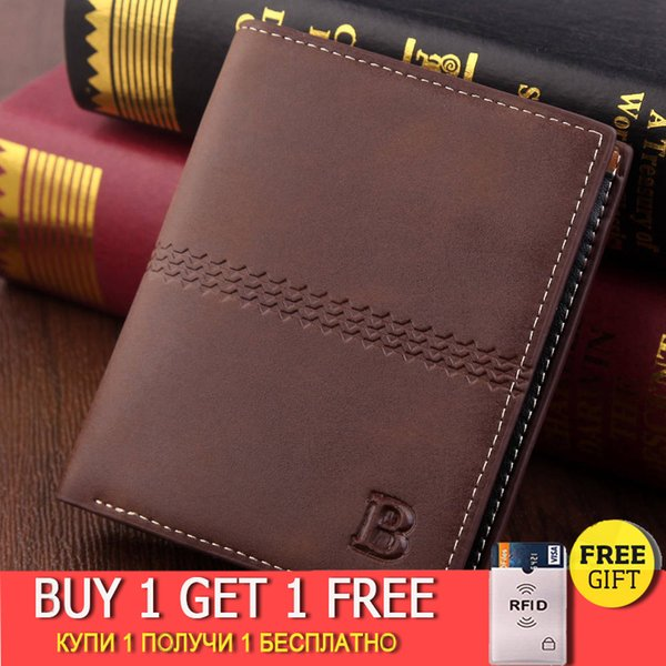 men's wallet vintage brown dollar short slim carteira masculina erkek cuzdan billetera hombre no zipper wallet men b purse (577752598) photo