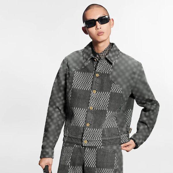 20FW Checkerboard Plaid Panelled Full Printing Blue Denim Shirt Jacket Casual Fashion Outerwear Men Women Couple Street HFHLJK125