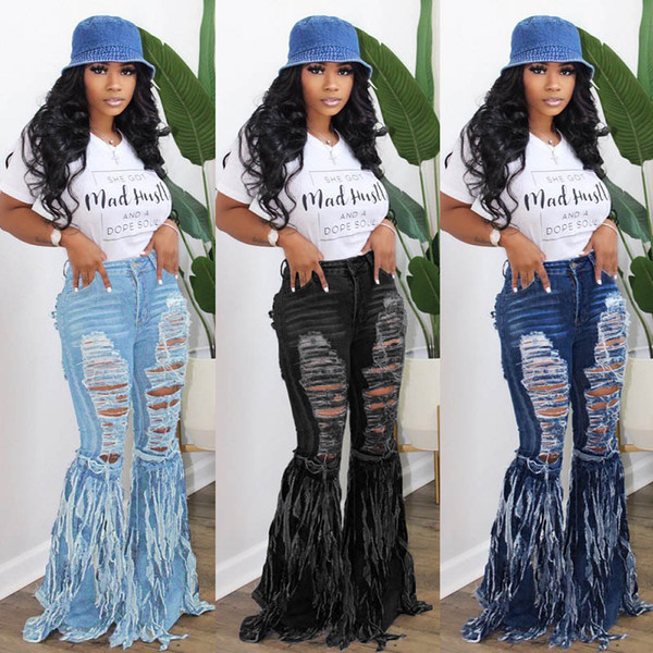 Womens fashion Fringed denim trousers sexy flared jeans pants hole ripped full length leggings pants streetwear Fall plus size Clothing