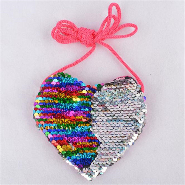 explosion sequins lanyard bag girl coin purse child creative diagonal shoulder package kids loving heart sequins mini coin purse (580507546) photo