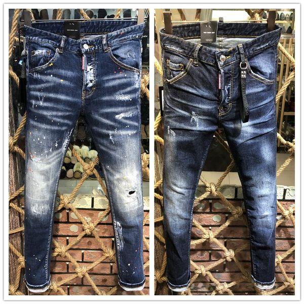 2020 latest listing skinny jeans for men ripped holes jeans Motorcycle Biker Denim pants Men Brand fashion Designer Hip Hop Mens Jeans