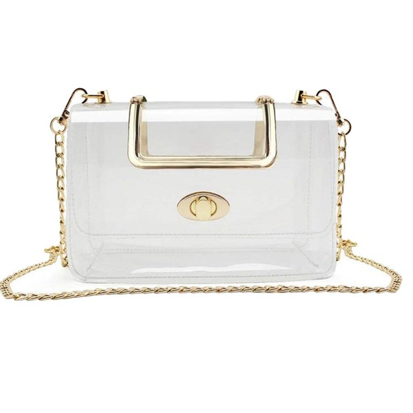 clear purse for women/girls clear purse with removable chain strap fashionable design and fits many occasions (575885495) photo