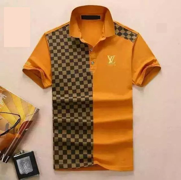 New fashion designers Men's Polos shirts men fabric letter polo t-shirt turn-down collar casual men women clothes brands polo shirt tops FF