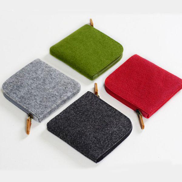 1pc felt purse card key mini purse pouch bag small zipper coin purse card holder wallet four colors available wallets (577555018) photo