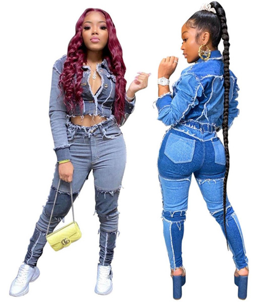 Women denim Tracksuit jeans 2 piece set long sleeve jacket+leggings fall winter clothes casual jogger suit panelled pocket outfits 3676
