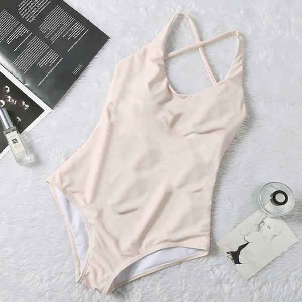 Simple Designer Swimsuits Padded Push Up Women One-piece Swimwear Outdoor Beach Swimming Bandage Travel Vacation Must Swimsuits Hot Sale
