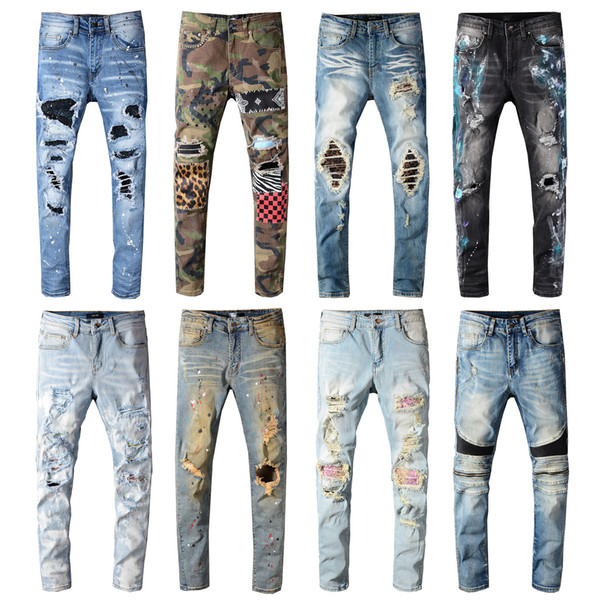 Top Quality Vintage Features Mens Jeans Pants Streetwear Motorcycle Style Locomotive Zipper Biker Pants Classic Slim for Men