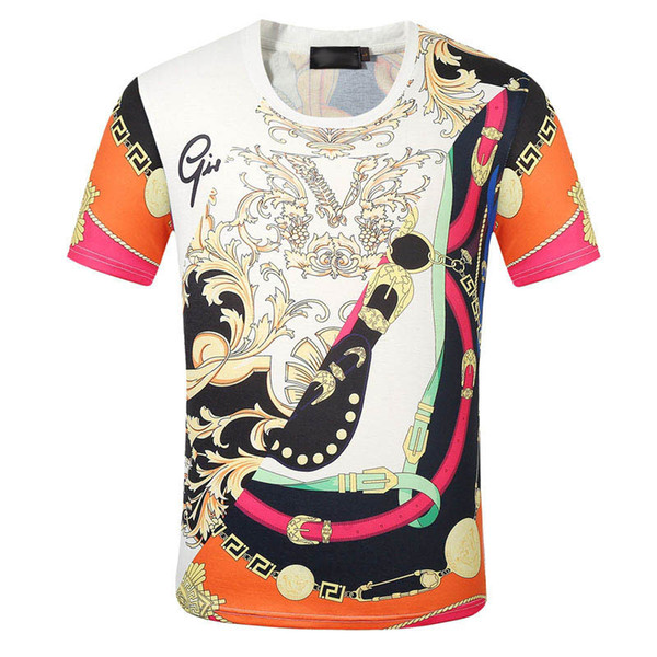 19 Brand summer t shirt men's casual short sleeve cotton tops tees print men t shirt hip hop male T-shir M-3XL