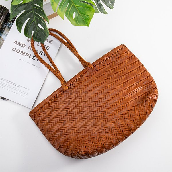 women's genuine leather woven shoulder bag cool weaving bucket handbags french casual tote purse cowhide cross handle bags (566435762) photo