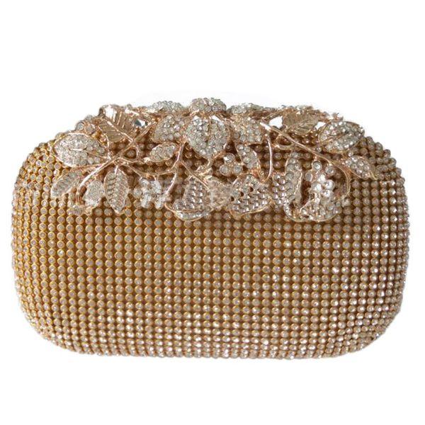 unique gold rhinestone evening bag clutch purse party bridal prom (566798428) photo