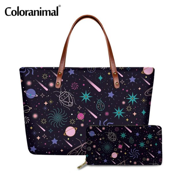 coloranimal fashion women 2pcs casual handbags&purse pretty galaxy printing shoulder bags for ladies tote crossbody bags bolsa (566876923) photo