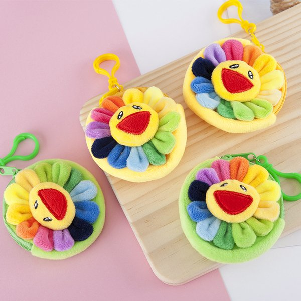 lovely colorful sunflowers children plush coin purse zipper change purse wallet kids girl women for gifts with keychain (574746212) photo