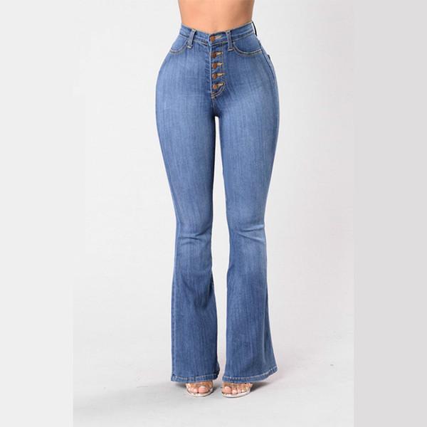 Vintage Chic Ladies Flare Jeans 2020 Spring Summer High Waist Elegant Women Push Up Bell Bottom Wide Leg Pants Plus Size 3XL 4XL CX200821