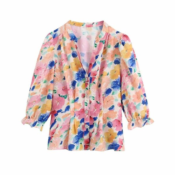 2020 New summer Women top Flower Printed Faux Jewelry Button Tops V-neck T- shirt fashion ropa mujer femme t-shirts