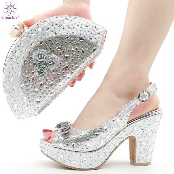 latest design new fashion rhinestone woman shoes and purse set elegant nigerian women pumps shoe for party high quality (566984028) photo