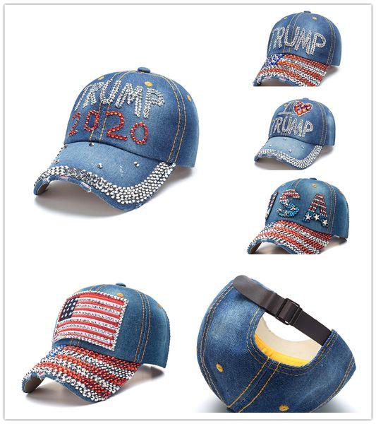 hot Donald Trump Denim Baseball Cap 2020 trump Rhinestone sports cap striped USA Flag Cap A2151