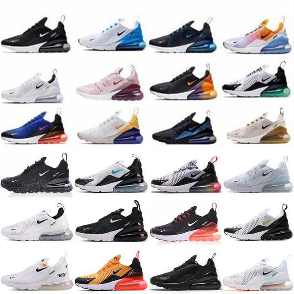 2019 New Mens Women 270 Max Sports Running Shoes Black white maxes Casual 270s Trainers Sneakers Size 36-45