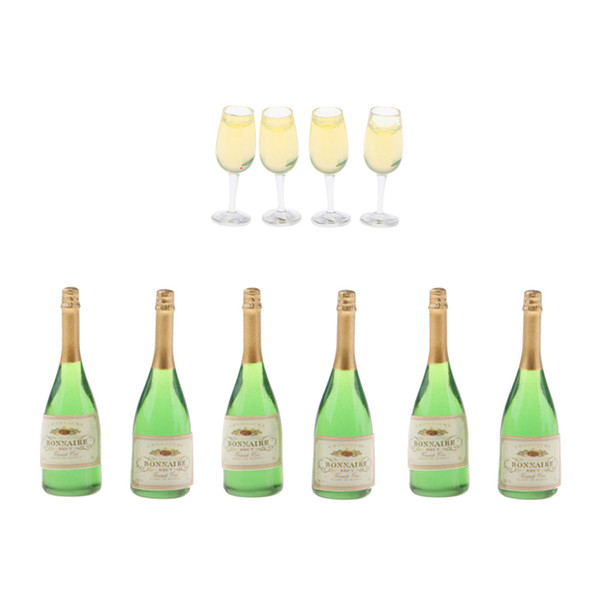 10 Pieces/set Dollhouse Miniature Wine Bottles & Glasses Model - 1/12 Scale Dolls Drinking Supplies - Pretend Play Toys For Kids And Adults