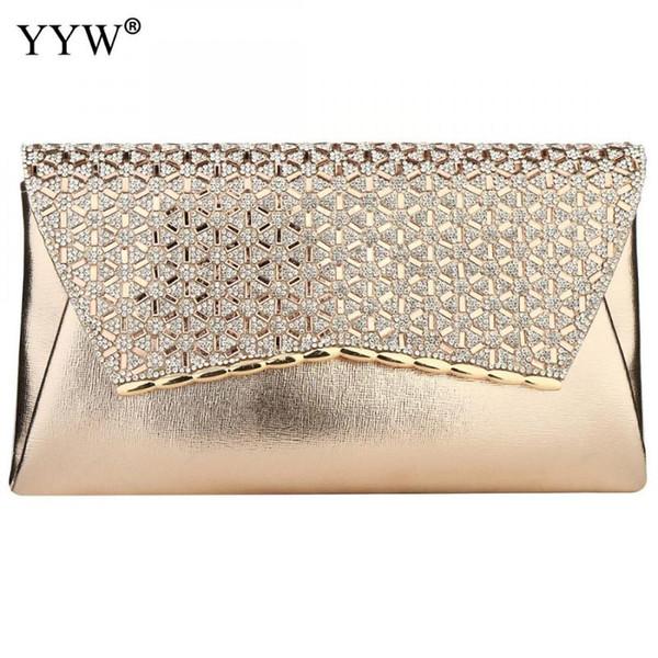 rose gold envelope handbag evening bags rhinestone clutch purses for women evening wedding party cocktail purse 2020 luxury (578723182) photo