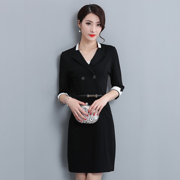 2018 autumn womens new seven-point sleeve ol professional dress dress Slim jewelry store overalls tooling