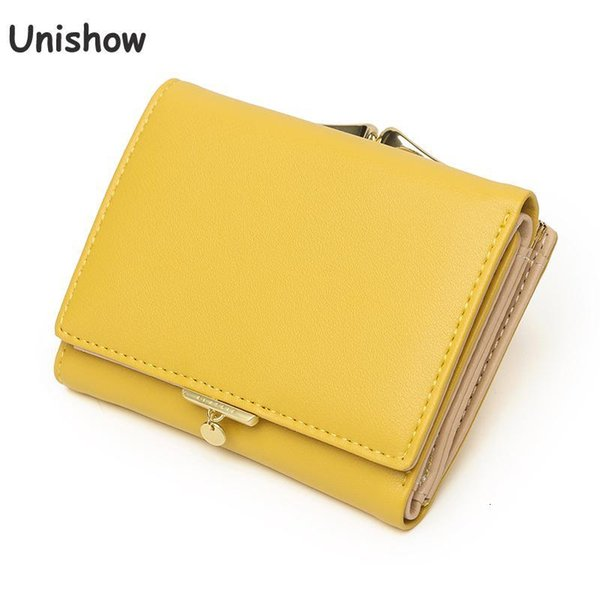 unishow small lock women wallet 2020 brand designer women purse trifold pu leather laides wallet coin purse girl card holders (577856779) photo