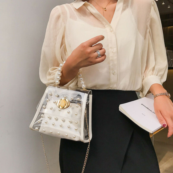 women transparent pvc clear chain jelly bag tote handbag messenger shoulder bag clear jelly purse clutch (567341364) photo