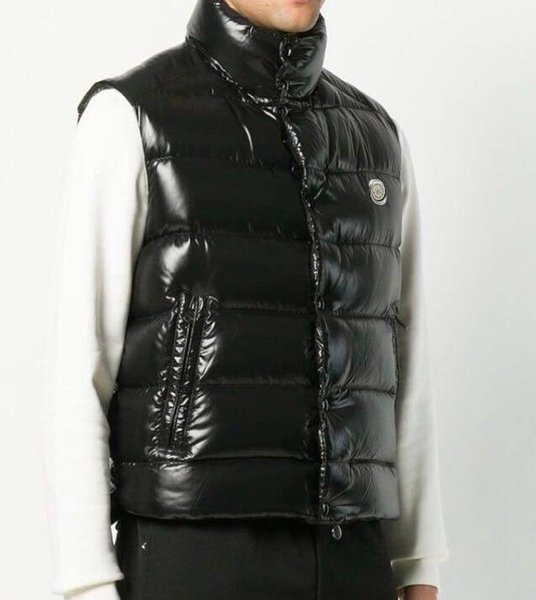 Down jacket vest men and women autumn and winter thick slimming shiny vest vest white duck down