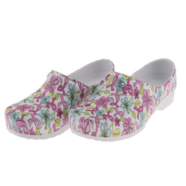Women Pink Ribbon Flowers Pattern Work Shoes For Nursing Chef Kitchen Restaurant, Summer Casual Slip Resistant Clogs Flat Shoes