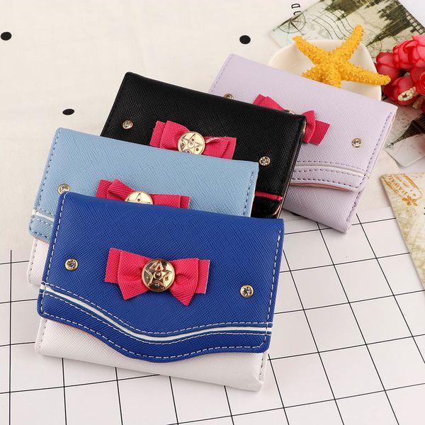 women short wallet candy color bow knot clutch purse fashion girl sailor moon wallet handbag card coin bag 2020 new popular (577715583) photo