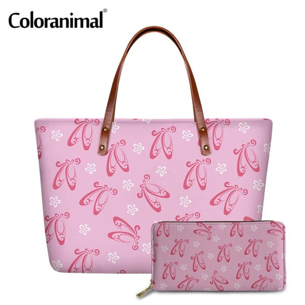 coloranimal 2pcs/set ladies handbag&purse pretty ballet shoes pattern large shoulder bags for women crossbody bags beach (566876505) photo